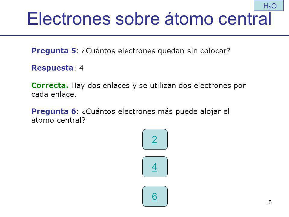 Electrones sobre átomo central