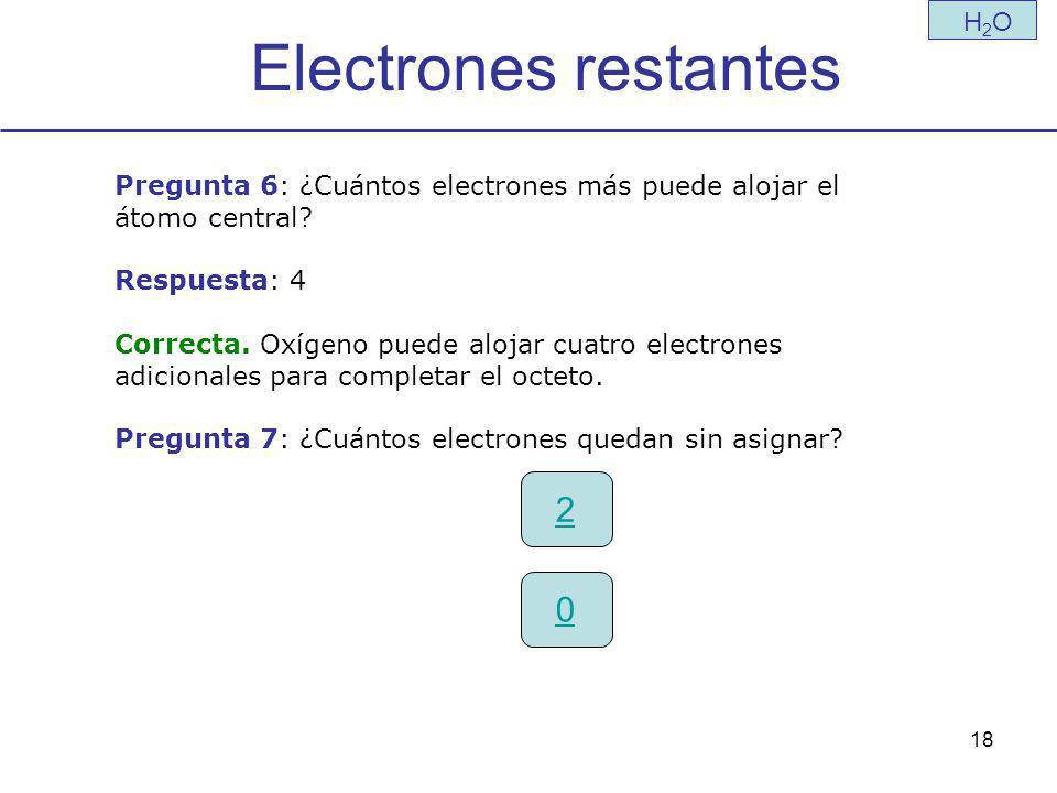 Electrones restantes 2 H2O