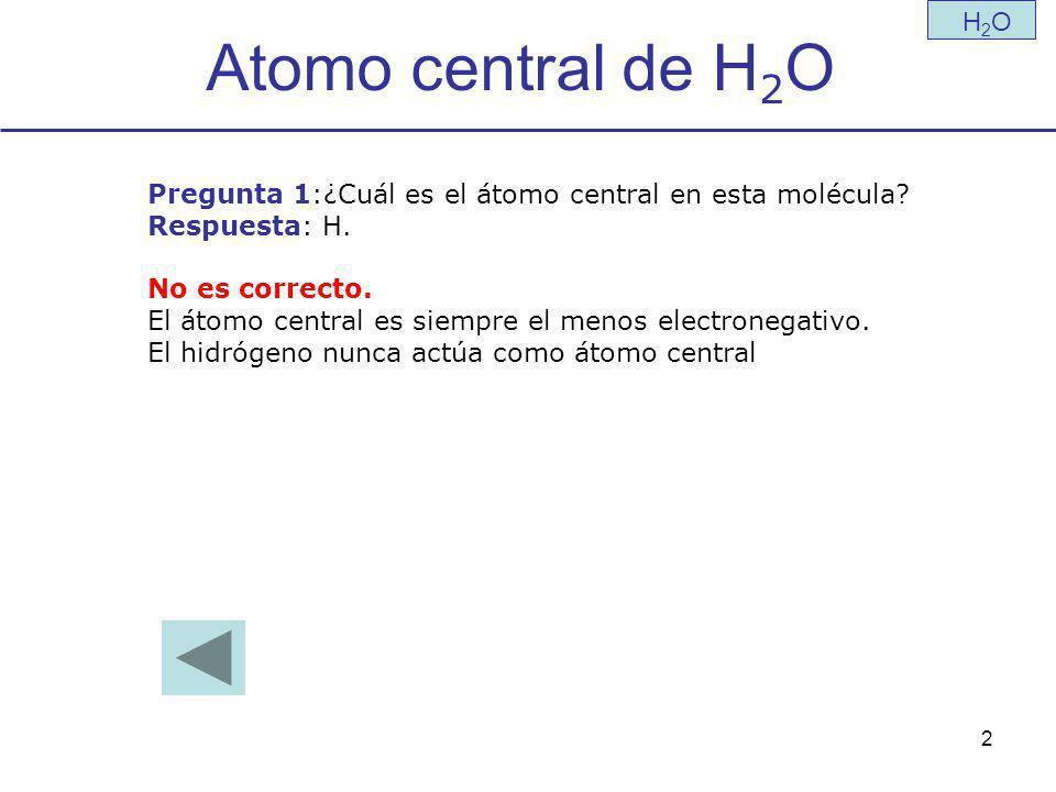 Atomo central de H2O H2O. Pregunta 1:¿Cuál es el átomo central en esta molécula Respuesta: H. No es correcto.