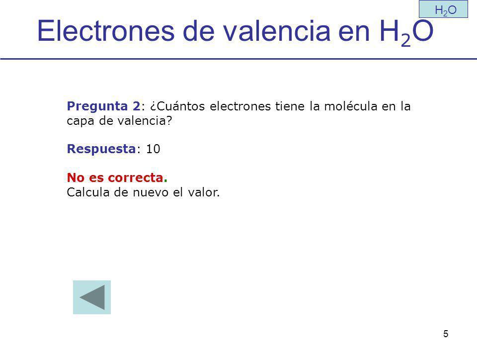 Electrones de valencia en H2O