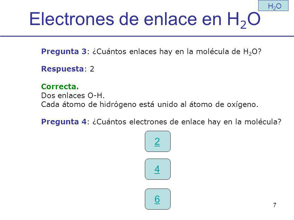 Electrones de enlace en H2O