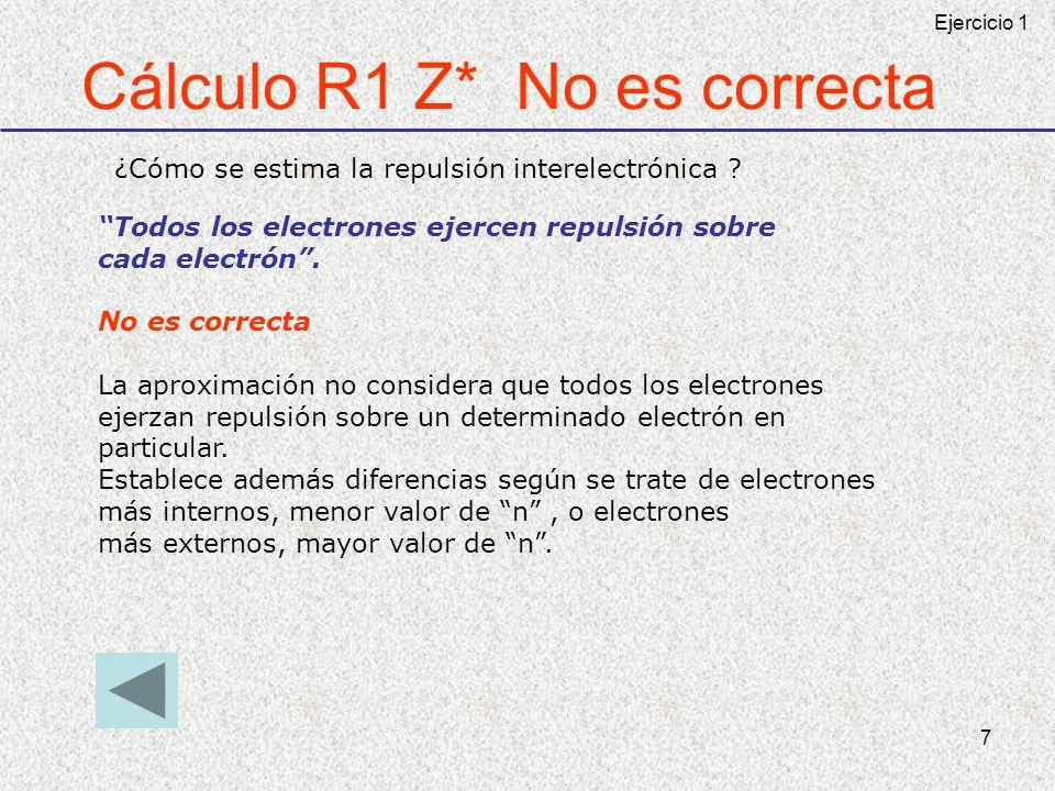 Cálculo R1 Z* No es correcta