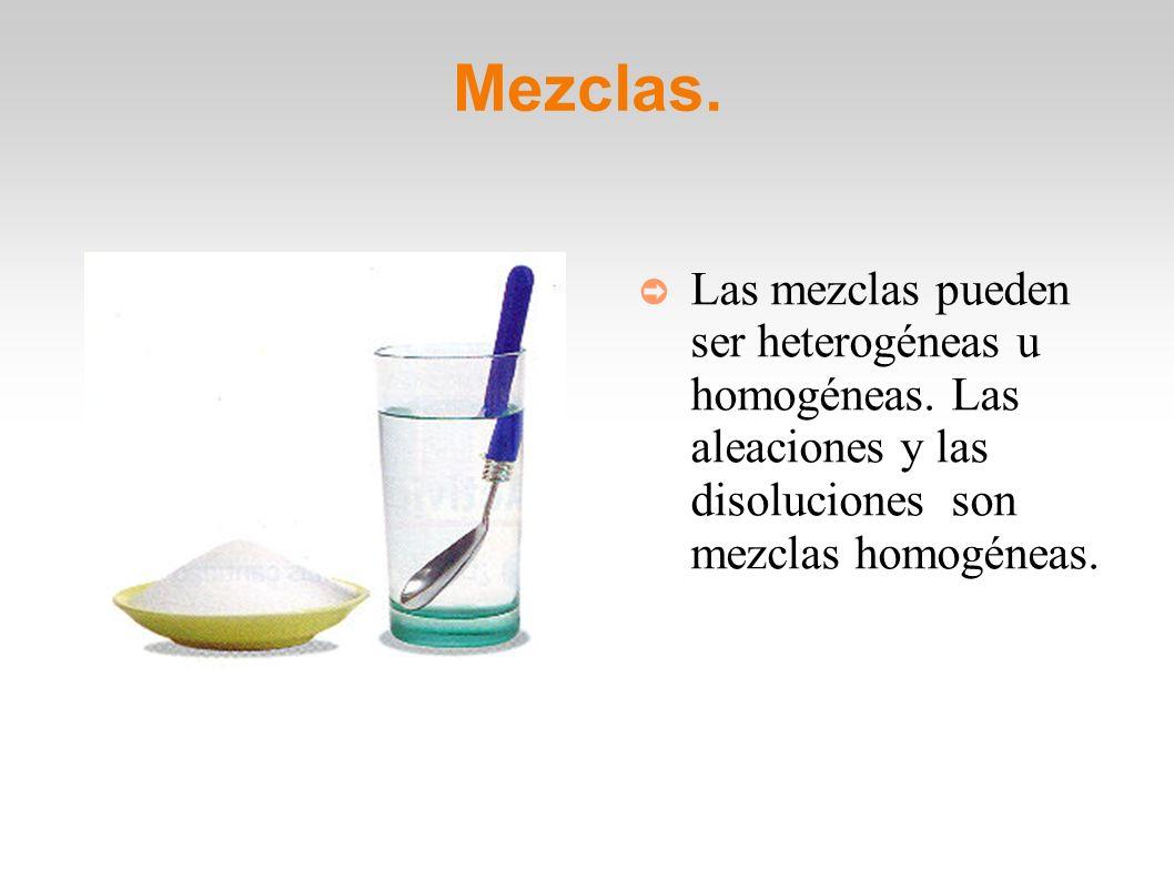 Mezclas. Las mezclas pueden ser heterogéneas u homogéneas.