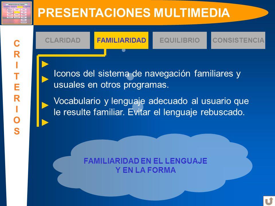 PRESENTACIONES MULTIMEDIA FAMILIARIDAD EN EL LENGUAJE Y EN LA FORMA