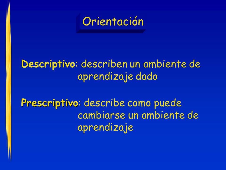 Orientación Descriptivo: describen un ambiente de aprendizaje dado