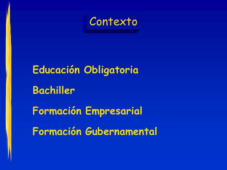 Contexto Educación Obligatoria Bachiller Formación Empresarial
