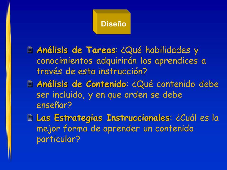 Diseño Análisis de Tareas: ¿Qué habilidades y conocimientos adquirirán los aprendices a través de esta instrucción
