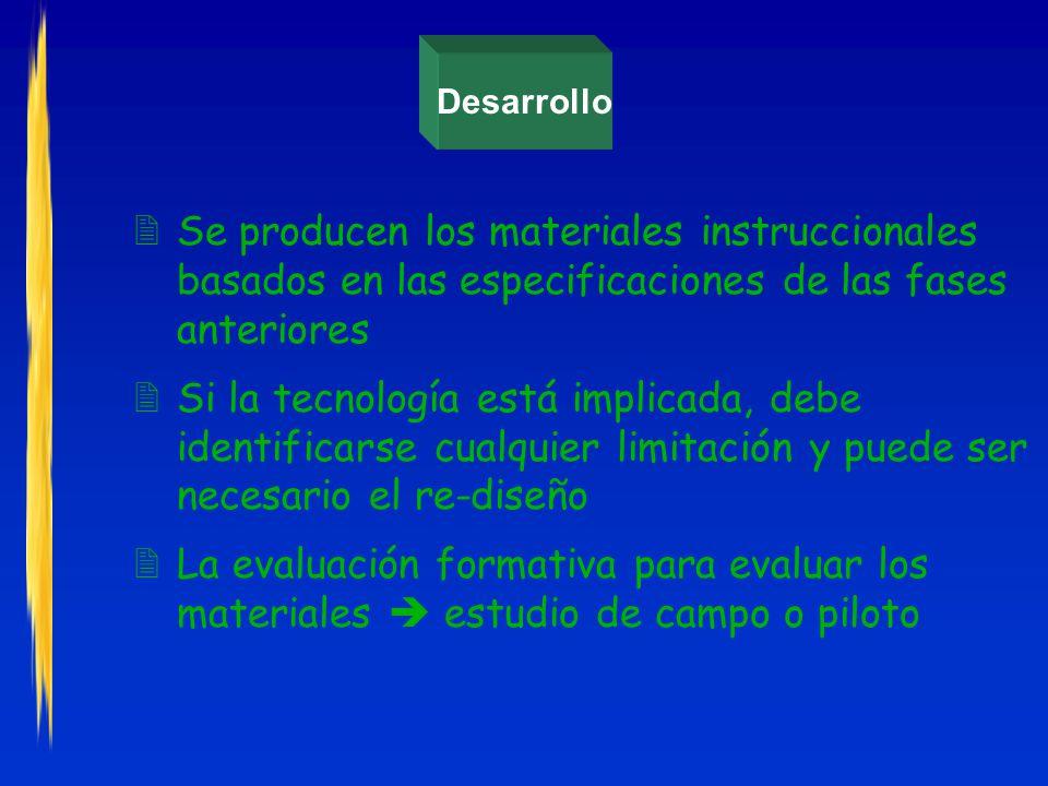 Desarrollo Se producen los materiales instruccionales basados en las especificaciones de las fases anteriores.
