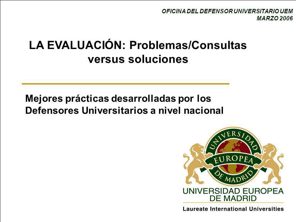 LA EVALUACIÓN: Problemas/Consultas versus soluciones