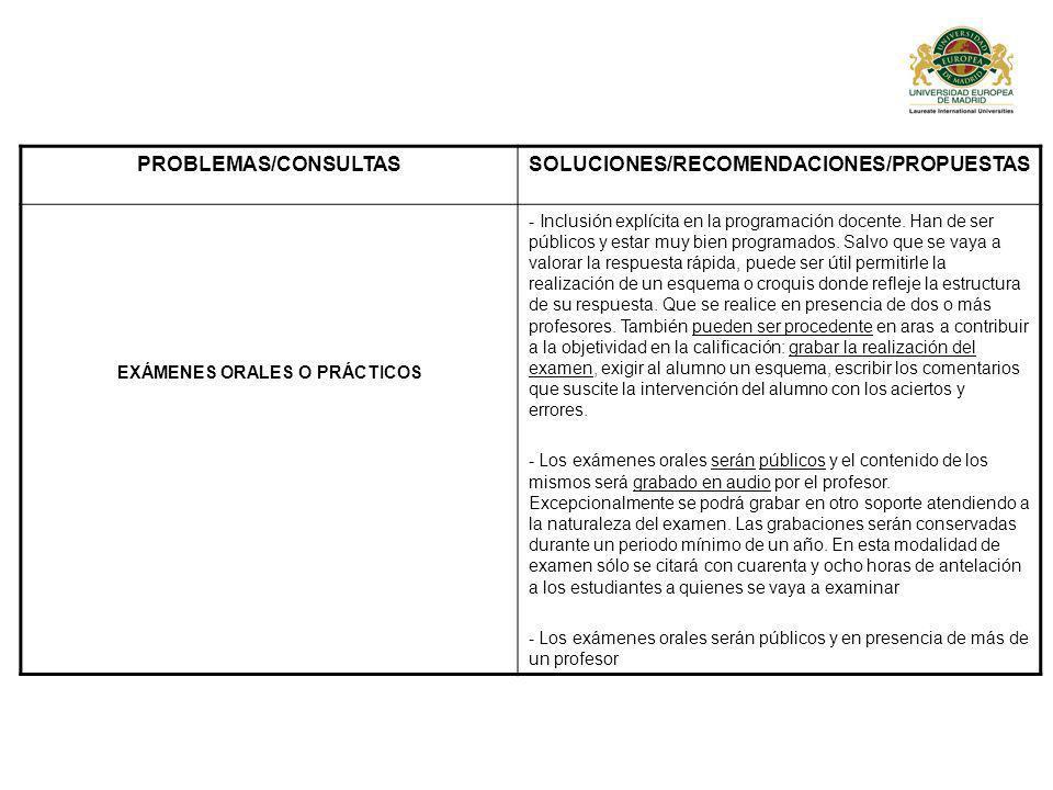 SOLUCIONES/RECOMENDACIONES/PROPUESTAS EXÁMENES ORALES O PRÁCTICOS
