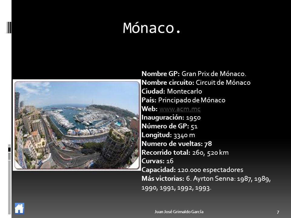 Mónaco. Nombre GP: Gran Prix de Mónaco.