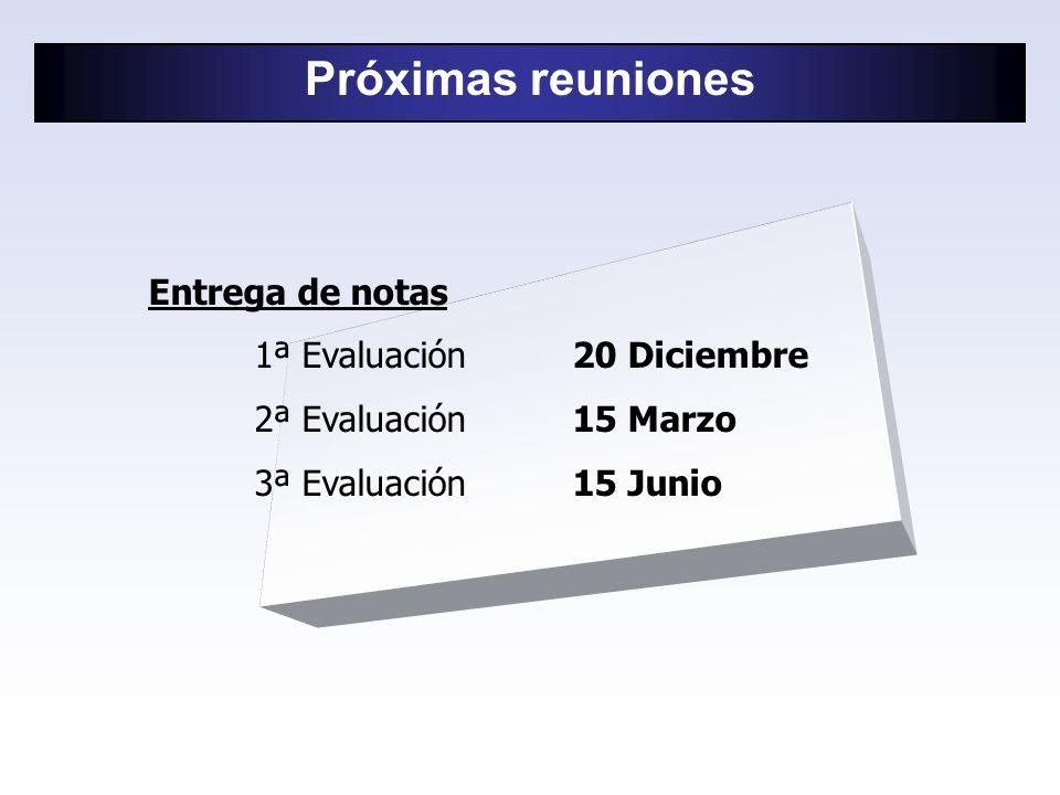Próximas reuniones Entrega de notas 1ª Evaluación 20 Diciembre