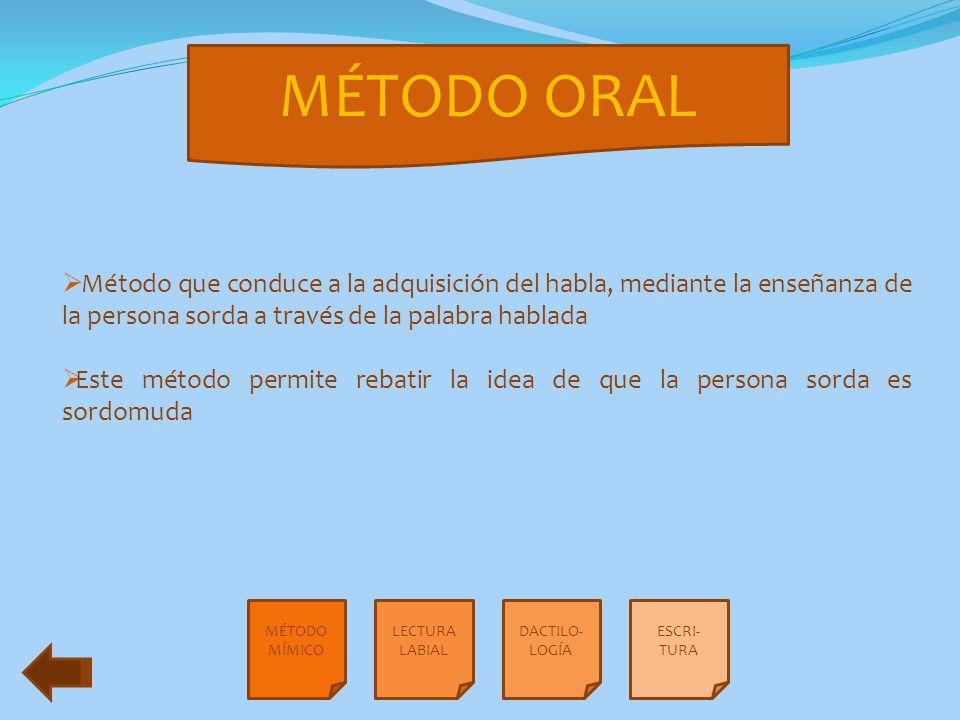 MÉTODO ORAL Método que conduce a la adquisición del habla, mediante la enseñanza de la persona sorda a través de la palabra hablada.