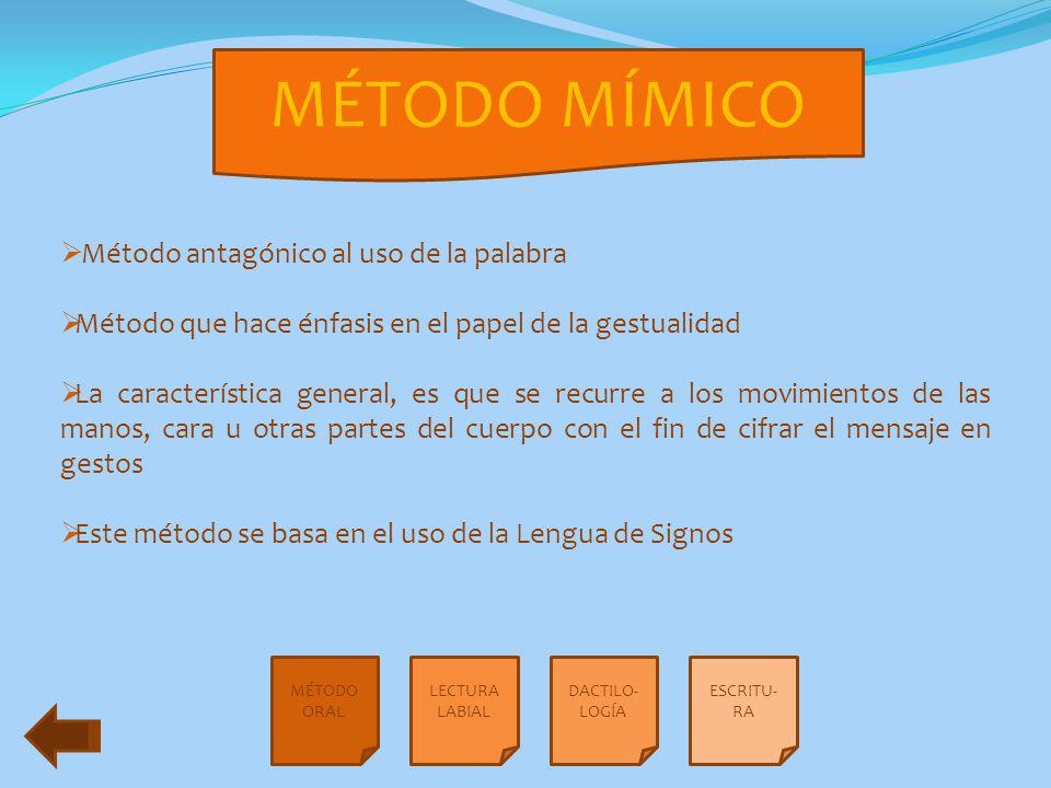 MÉTODO MÍMICO Método antagónico al uso de la palabra