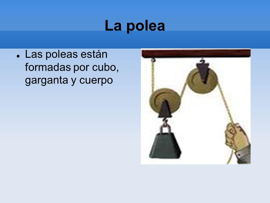 La polea Las poleas están formadas por cubo, garganta y cuerpo