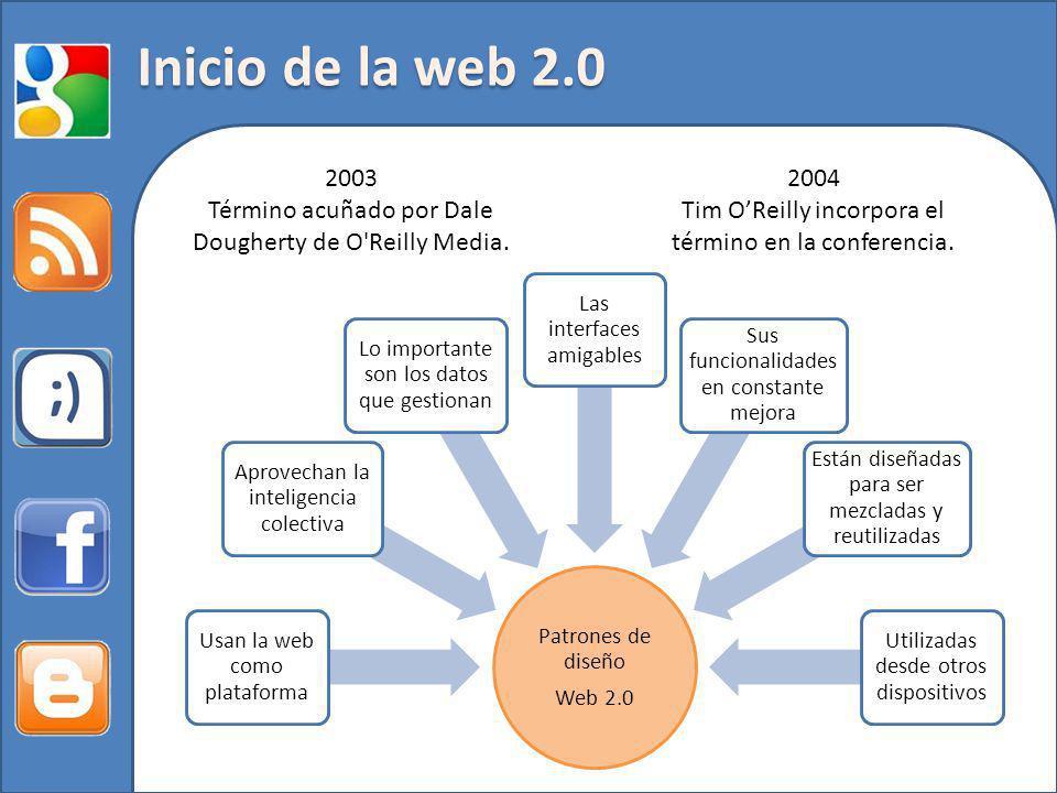 Inicio de la web 2.0 2003. Término acuñado por Dale Dougherty de O Reilly Media. 2004. Tim O'Reilly incorpora el término en la conferencia.
