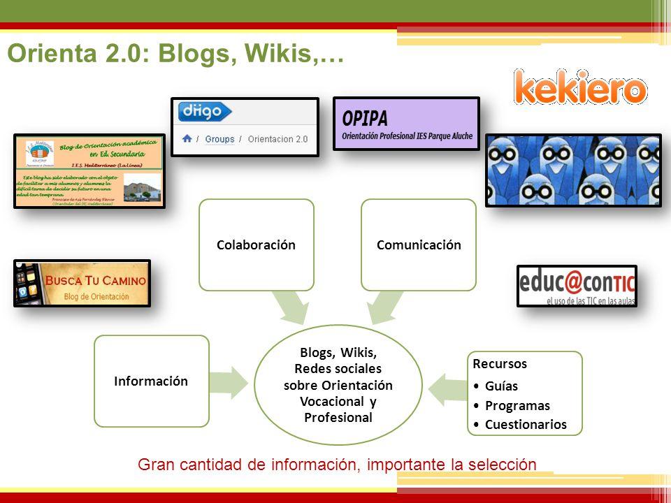 Orienta 2.0: Blogs, Wikis,… Blogs, Wikis, Redes sociales sobre Orientación Vocacional y Profesional.