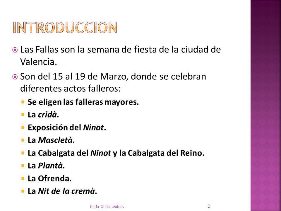 INTRODUCCION Las Fallas son la semana de fiesta de la ciudad de Valencia. Son del 15 al 19 de Marzo, donde se celebran diferentes actos falleros: