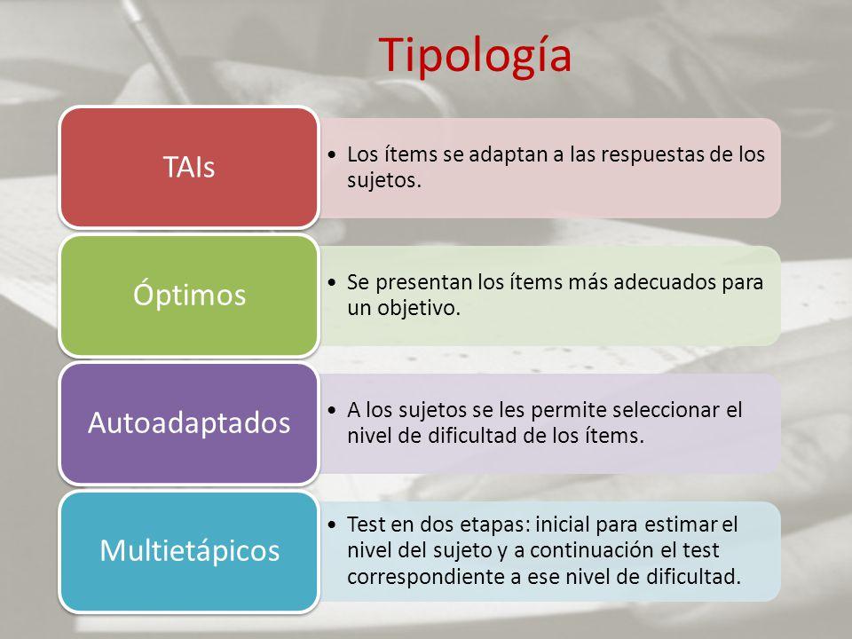 Tipología TAIs Los ítems se adaptan a las respuestas de los sujetos.