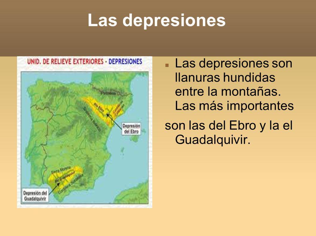 Las depresiones Las depresiones son llanuras hundidas entre la montañas.