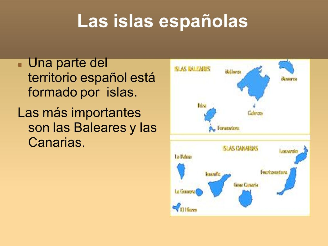 Las islas españolasUna parte del territorio español está formado por islas.