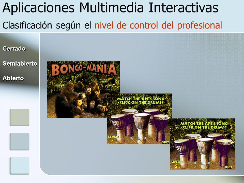 Aplicaciones Multimedia Interactivas Clasificación según el nivel de control del profesional