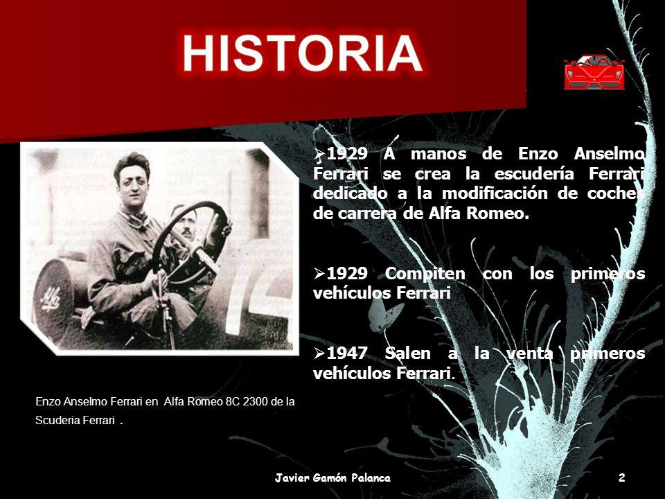 HISTORIA 1929 A manos de Enzo Anselmo Ferrari se crea la escudería Ferrari dedicado a la modificación de coches de carrera de Alfa Romeo.