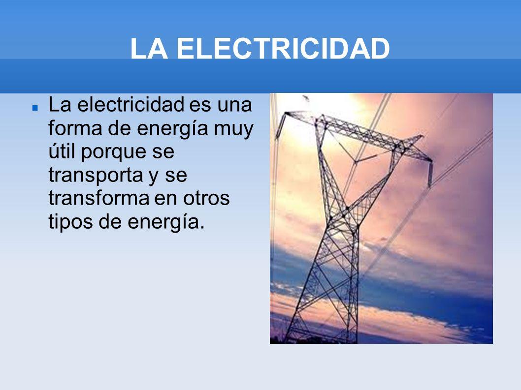 LA ELECTRICIDADLa electricidad es una forma de energía muy útil porque se transporta y se transforma en otros tipos de energía.