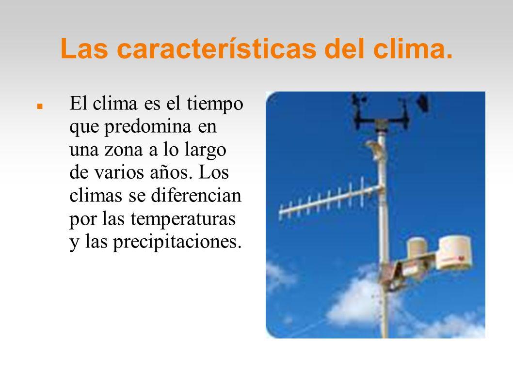 Las características del clima.