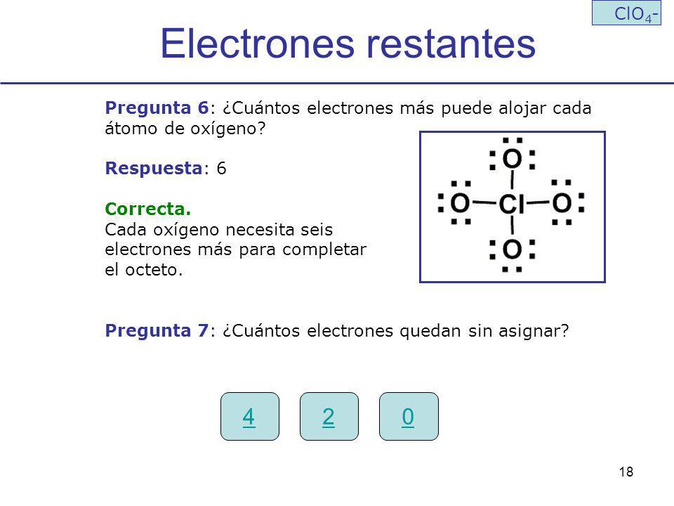 Electrones restantes 4 2 ClO4-