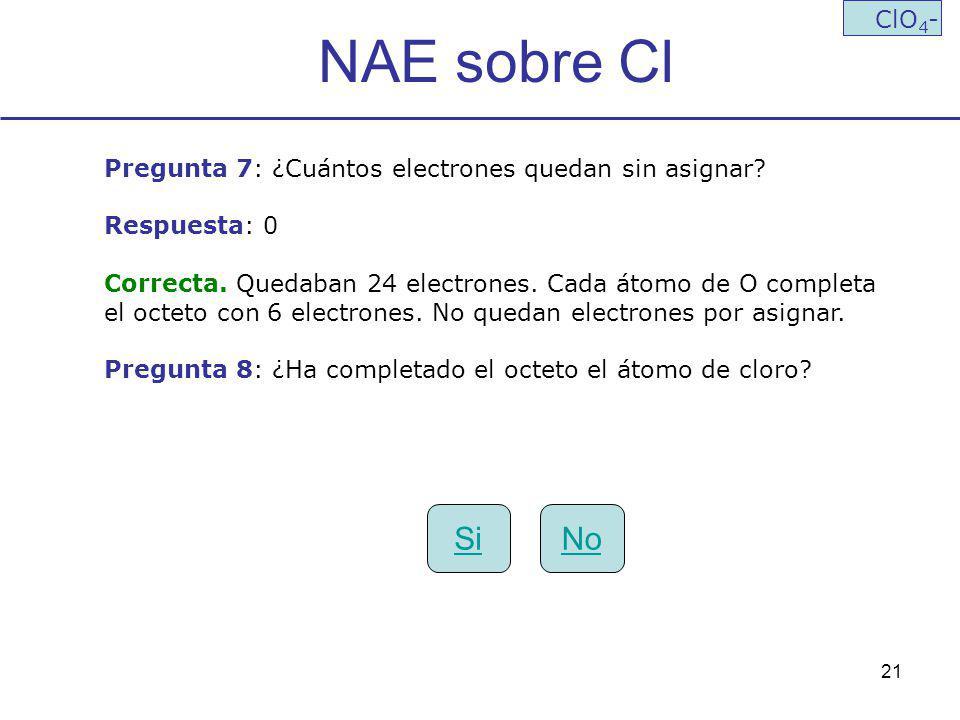 NAE sobre Cl ClO4- Pregunta 7: ¿Cuántos electrones quedan sin asignar Respuesta: 0. Correcta. Quedaban 24 electrones. Cada átomo de O completa.