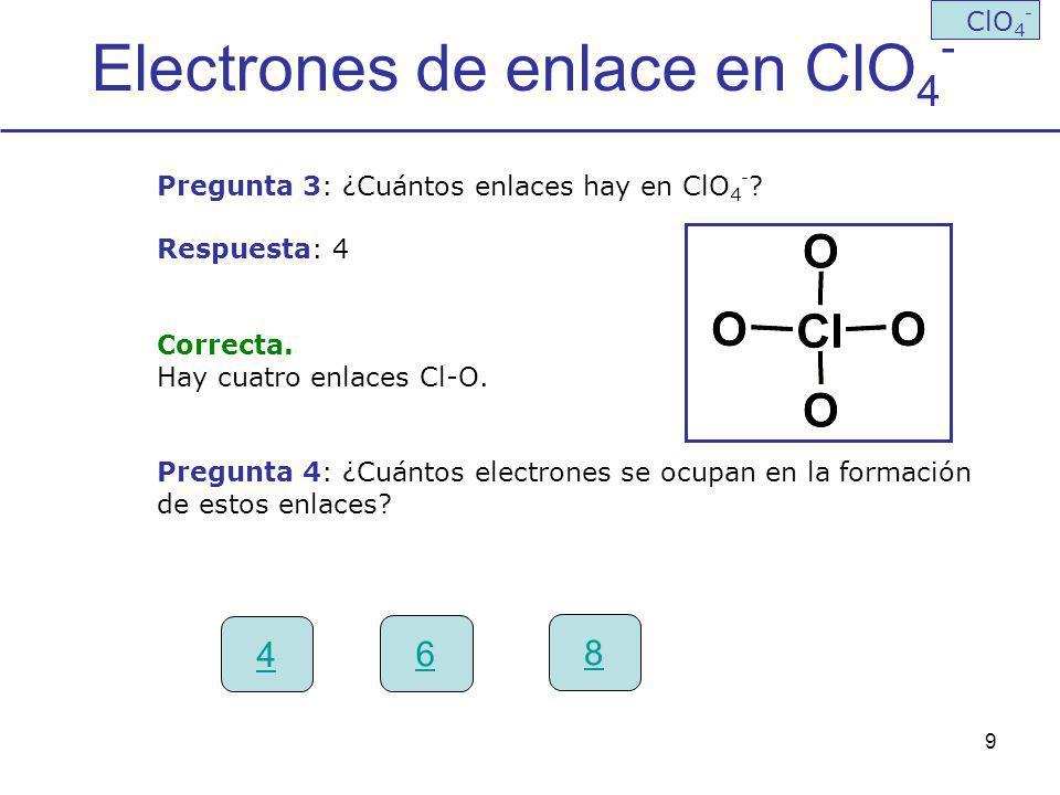 Electrones de enlace en ClO4-
