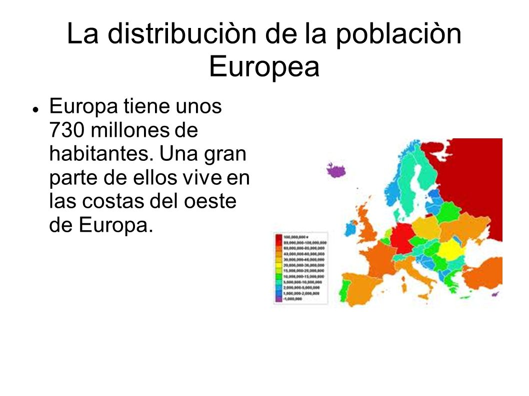 La distribuciòn de la poblaciòn Europea