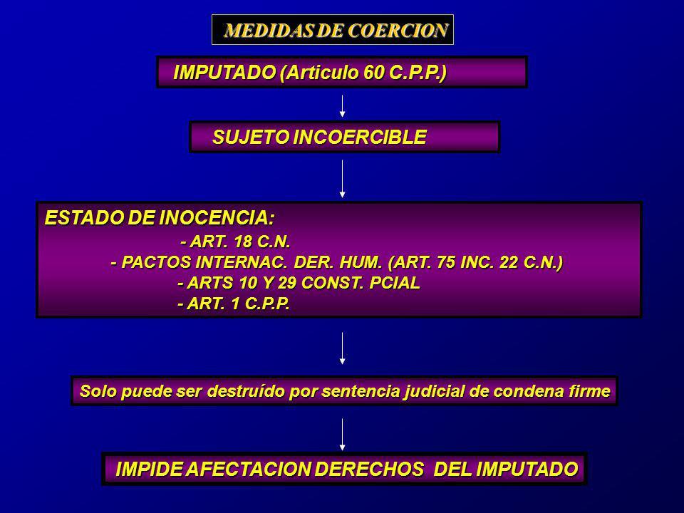 MEDIDAS DE COERCION ESTADO DE INOCENCIA: - ART. 18 C.N.