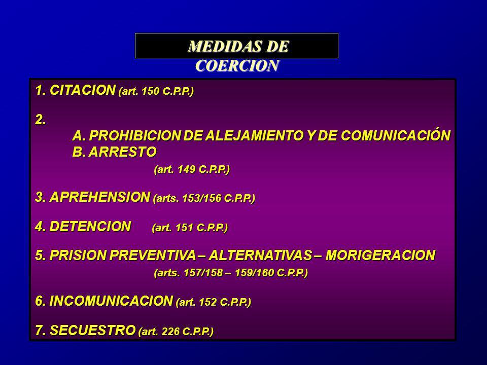 MEDIDAS DE COERCION 1. CITACION (art. 150 C.P.P.) 2. A. PROHIBICION DE ALEJAMIENTO Y DE COMUNICACIÓN.