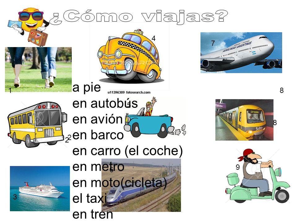¿Cómo viajas 4. 7. a pie en autobús en avión en barco en carro (el coche) en metro en moto(cicleta) el taxi en tren.