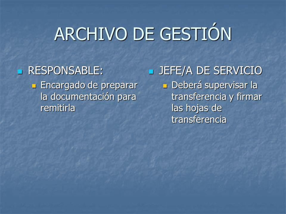 ARCHIVO DE GESTIÓN RESPONSABLE: JEFE/A DE SERVICIO
