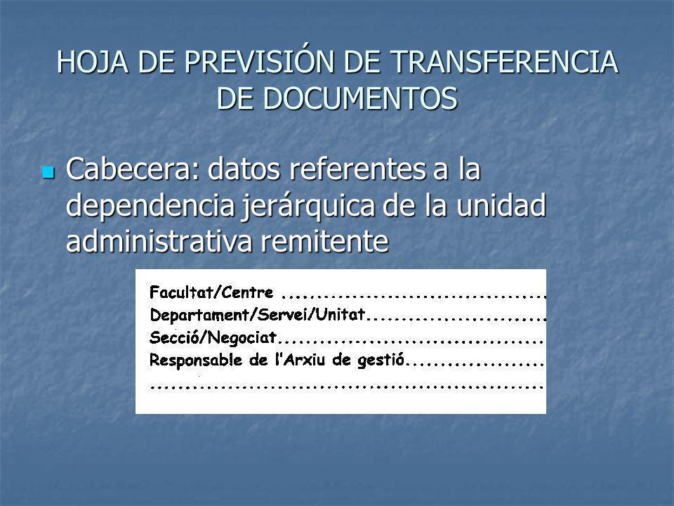 HOJA DE PREVISIÓN DE TRANSFERENCIA DE DOCUMENTOS