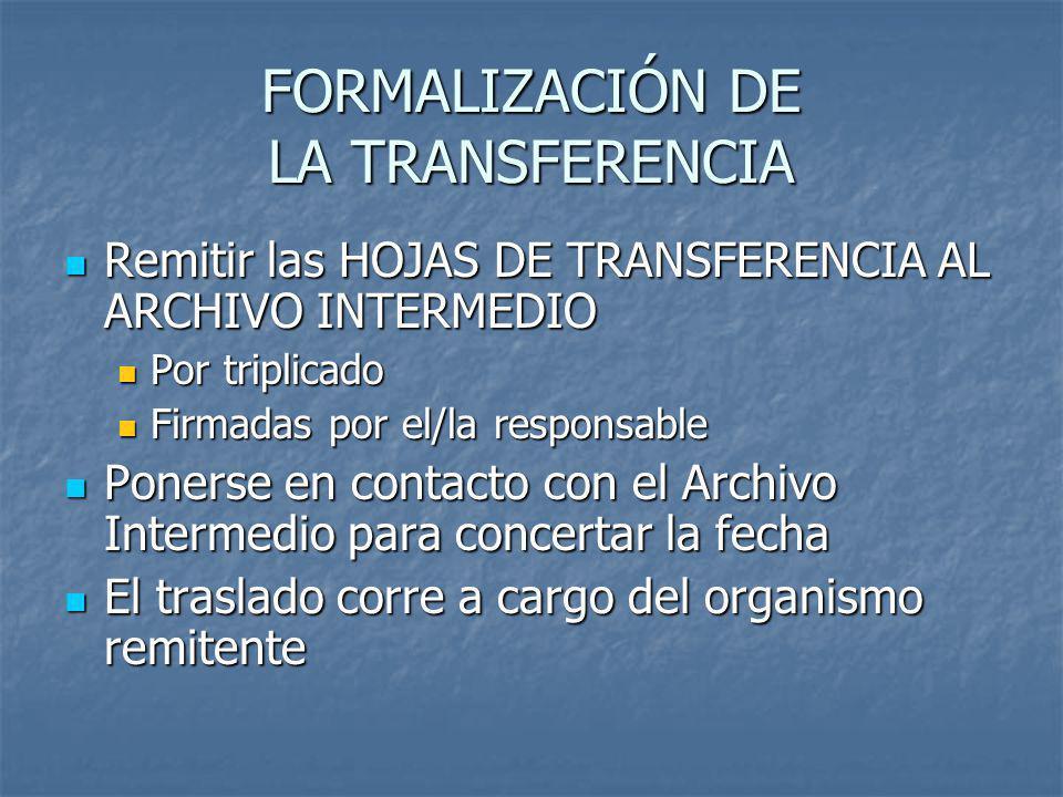 FORMALIZACIÓN DE LA TRANSFERENCIA