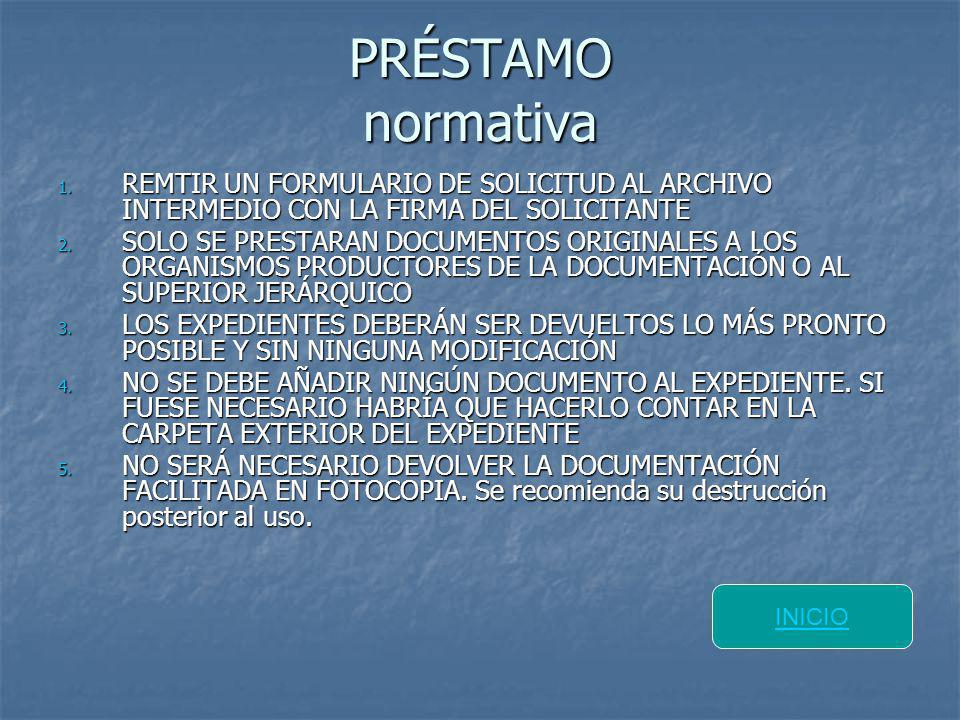 PRÉSTAMO normativa REMTIR UN FORMULARIO DE SOLICITUD AL ARCHIVO INTERMEDIO CON LA FIRMA DEL SOLICITANTE.
