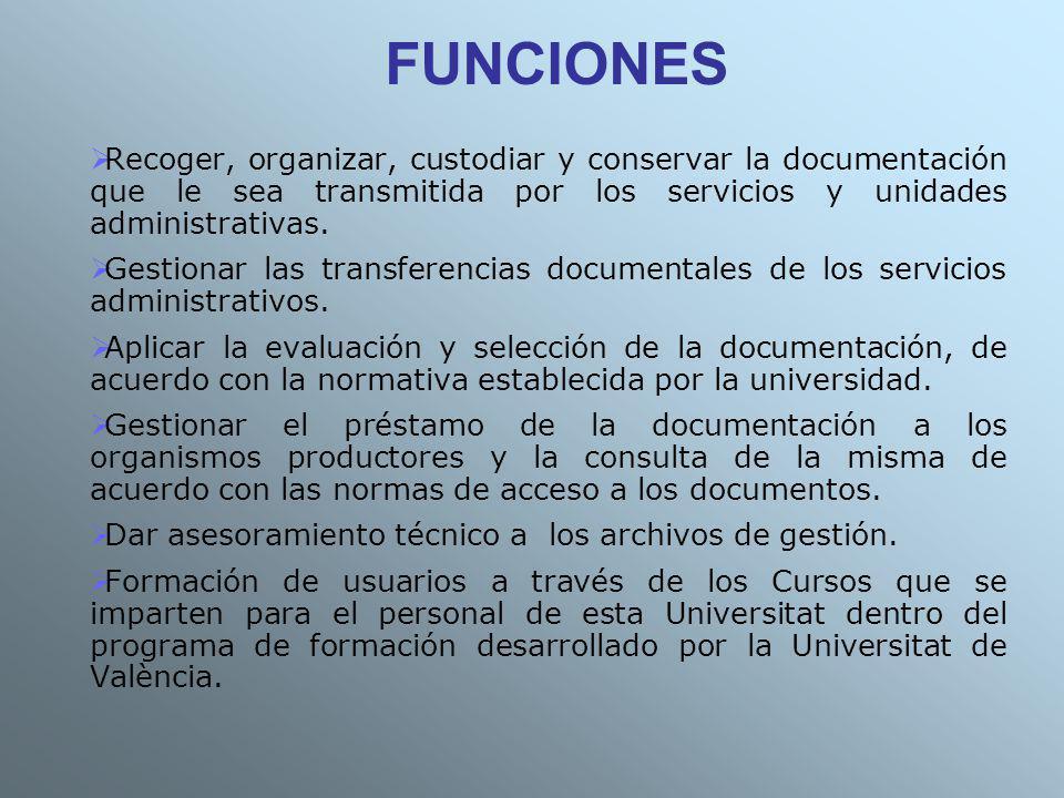 FUNCIONES Recoger, organizar, custodiar y conservar la documentación que le sea transmitida por los servicios y unidades administrativas.