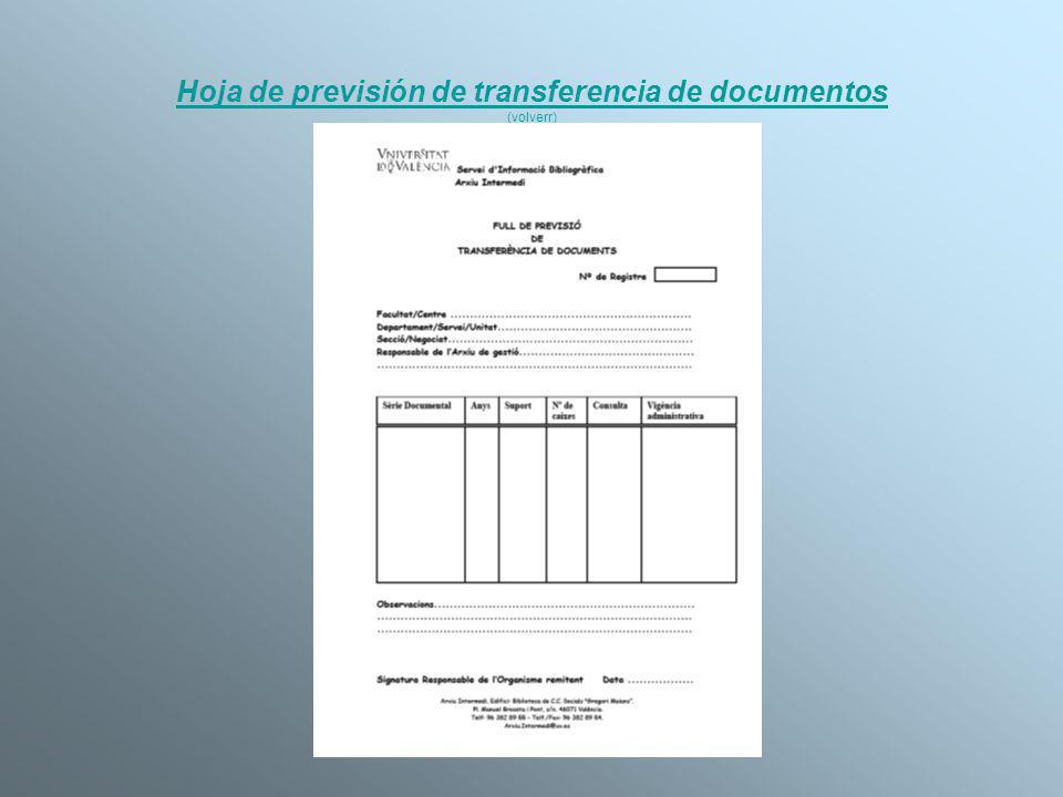 Hoja de previsión de transferencia de documentos (volverr)