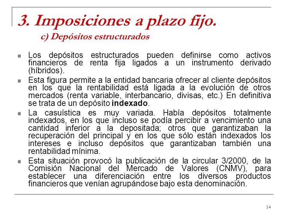 3. Imposiciones a plazo fijo. c) Depósitos estructurados