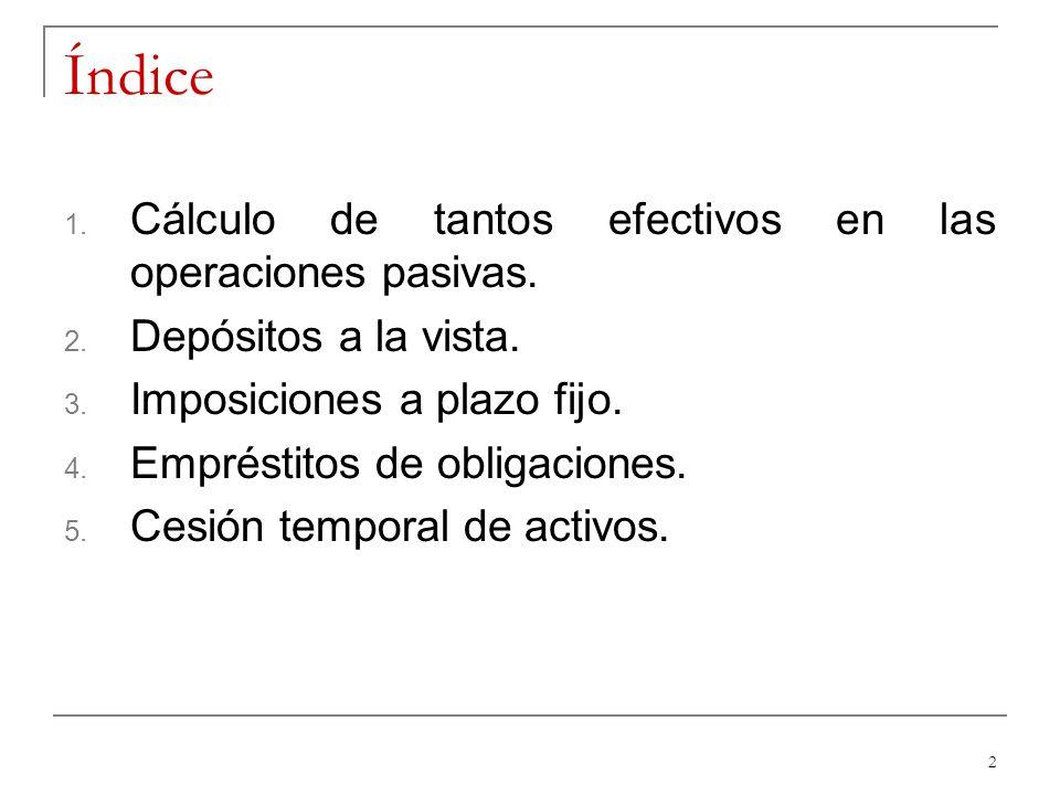 Índice Cálculo de tantos efectivos en las operaciones pasivas.