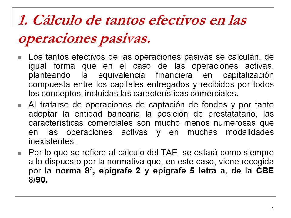 1. Cálculo de tantos efectivos en las operaciones pasivas.