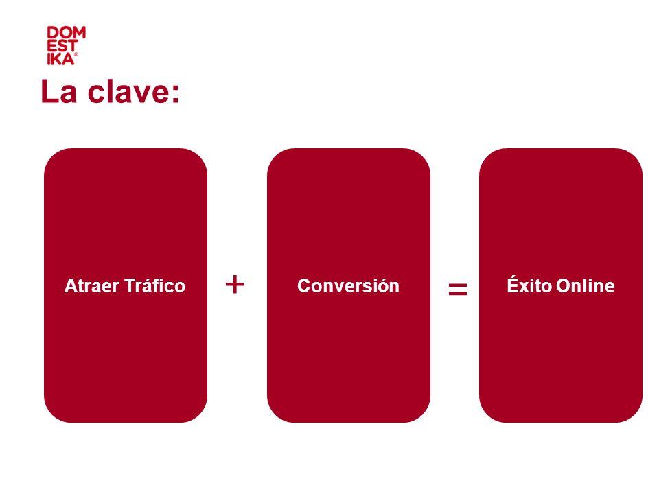 La clave: Atraer Tráfico Conversión Éxito Online + = + + 27