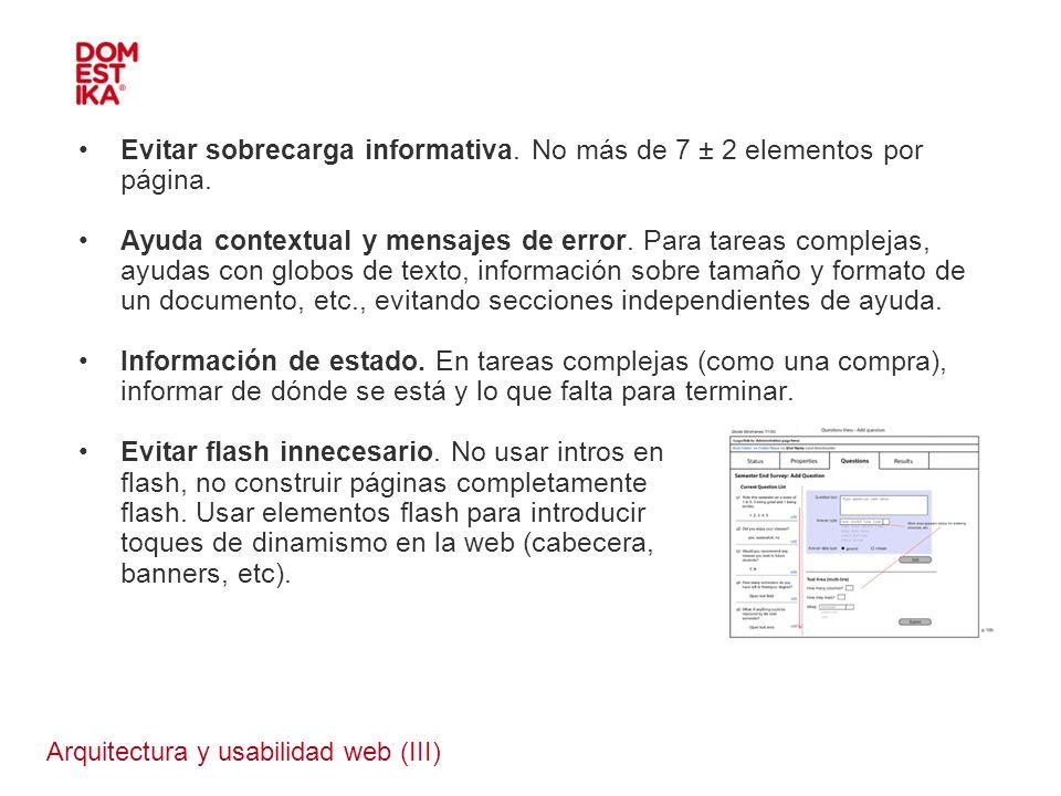 Arquitectura y usabilidad web (III)