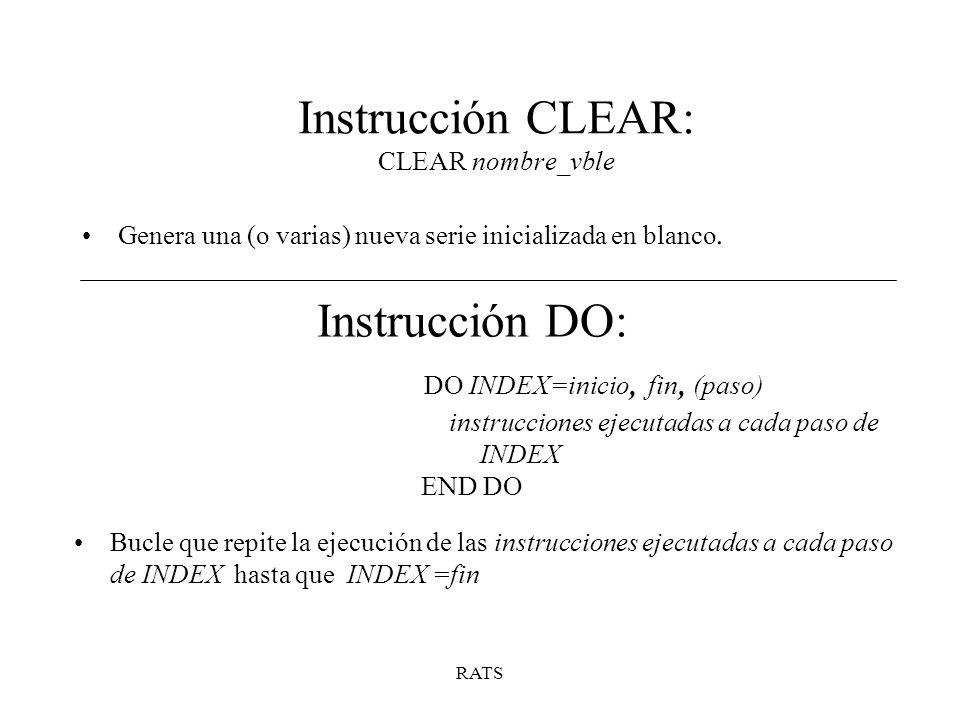 Instrucción CLEAR: CLEAR nombre_vble