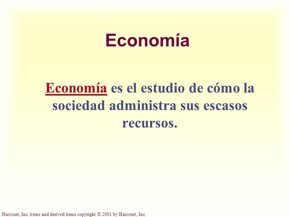 Economía Economía es el estudio de cómo la sociedad administra sus escasos recursos.