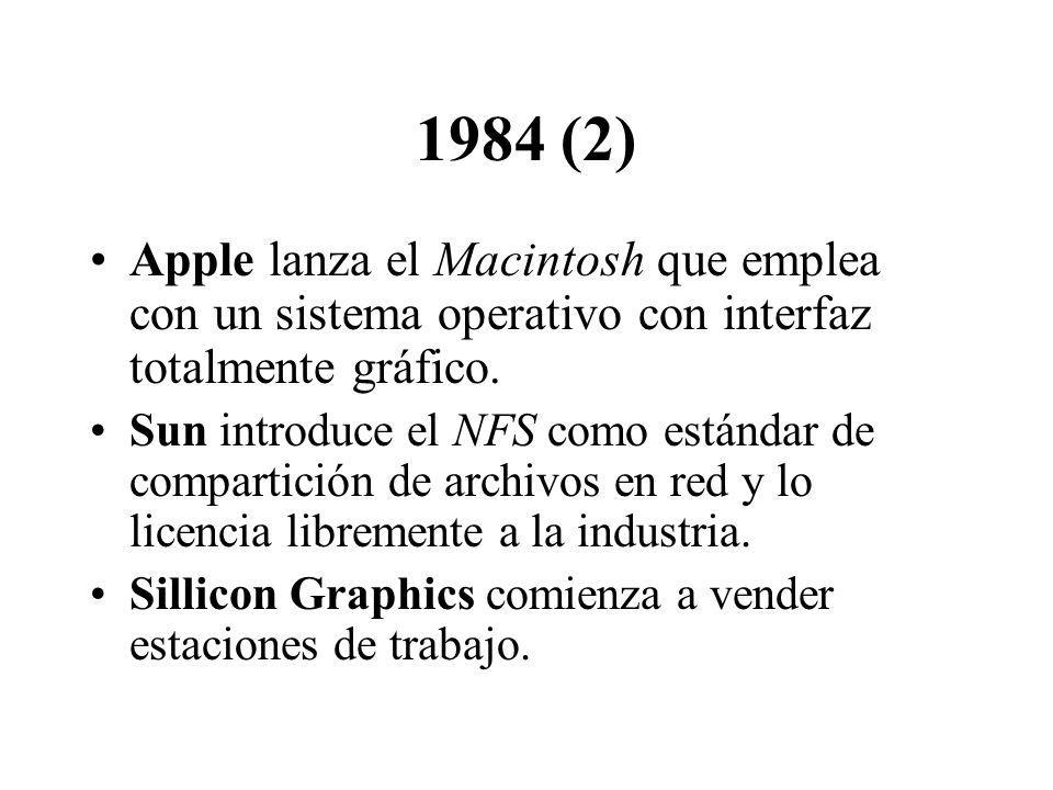 1984 (2) Apple lanza el Macintosh que emplea con un sistema operativo con interfaz totalmente gráfico.